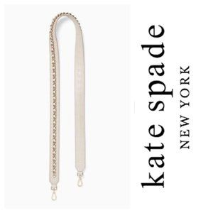 Kate Spade Leather Chain Crossbody Strap in Beige